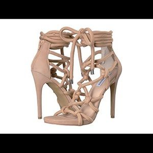 Steve Madden nude lace up high heels